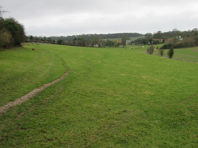 View across fields to Vicarage Farm and West Langdon