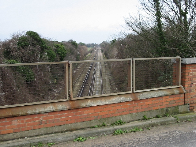Looking long the railway in the direction of Deal
