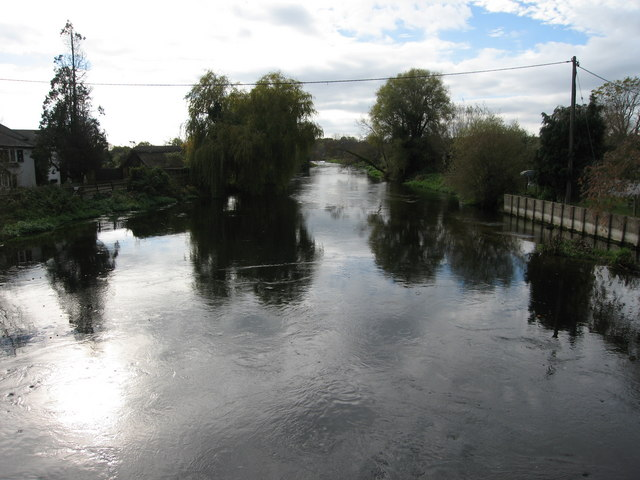 View downriver from old road bridge