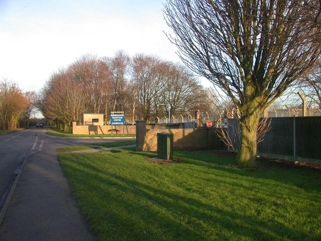 Entrance to Oakington Immigration Reception Centre
