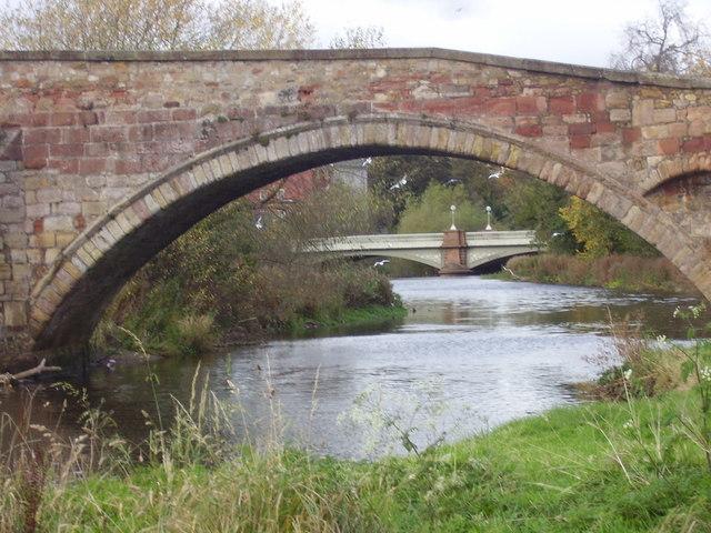 Bridges over the River Tyne at Haddington, East Lothian, Scotland.
