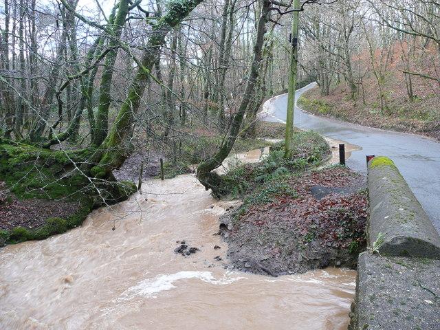 Floodwater at Plumper's Bridge