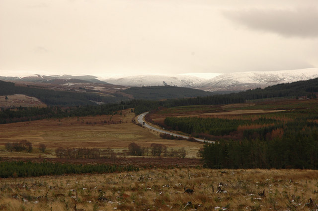 A9 trunk road and hills towards Sloch Summit