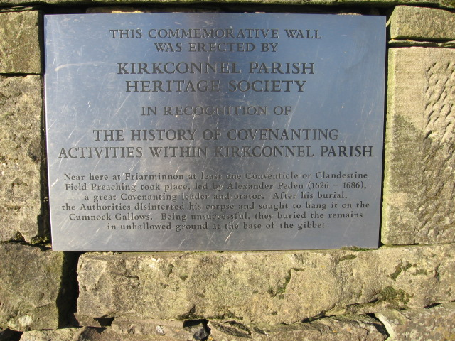 Plaque on covenanter memorial wall