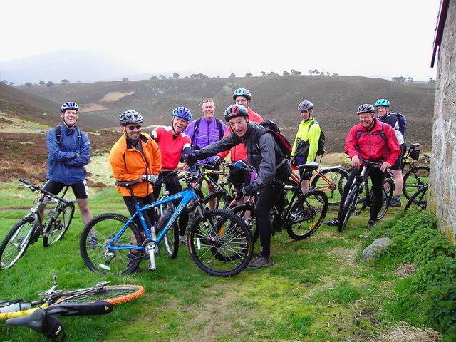 Mountain Bikers at Ryvoan Bothy