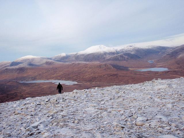Leaving the summit plateau of Beinn Liath  Mhor a'Ghiubhais Li
