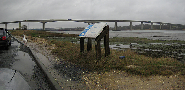 Lay-by with view of Orwell Bridge