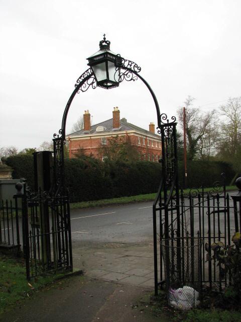 View northwest from churchyard gate
