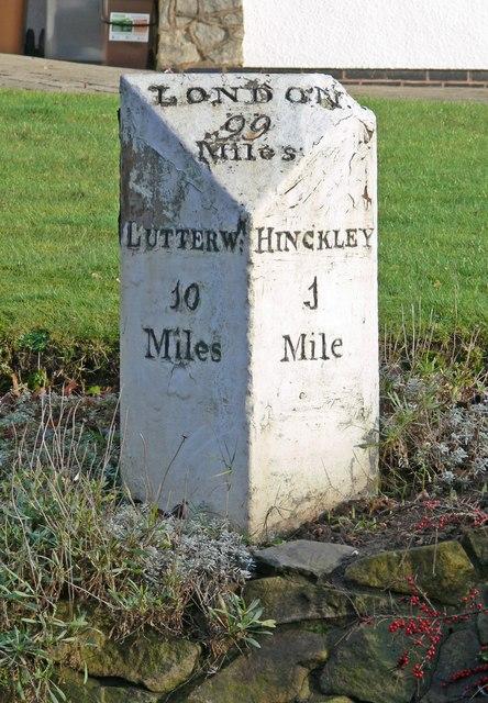 Milestone on Hinckley Road in Burbage