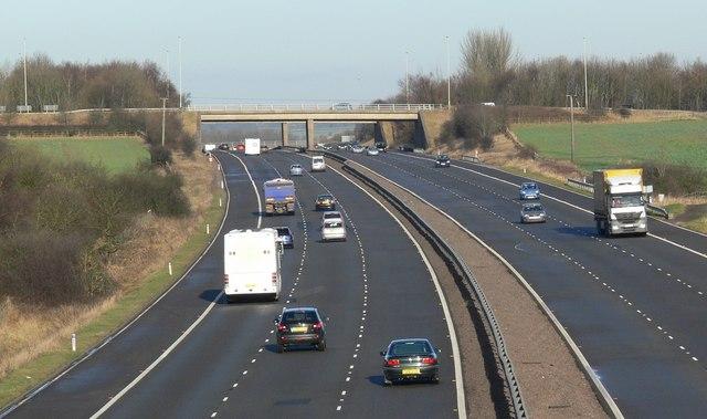 Northbound along the M69 Motorway