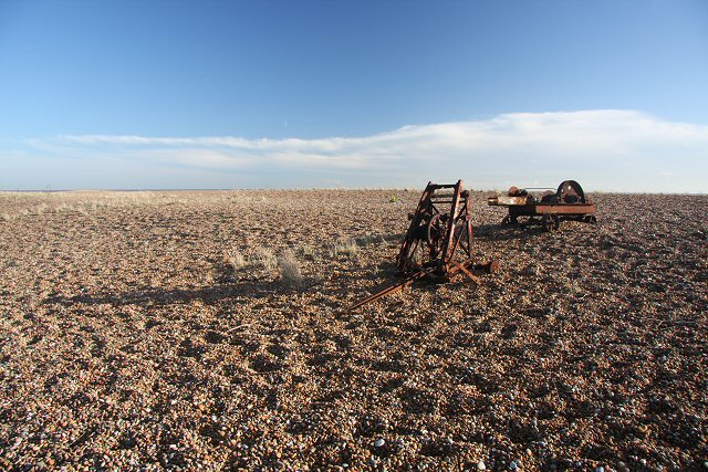 Derelict winches at Shingle Street