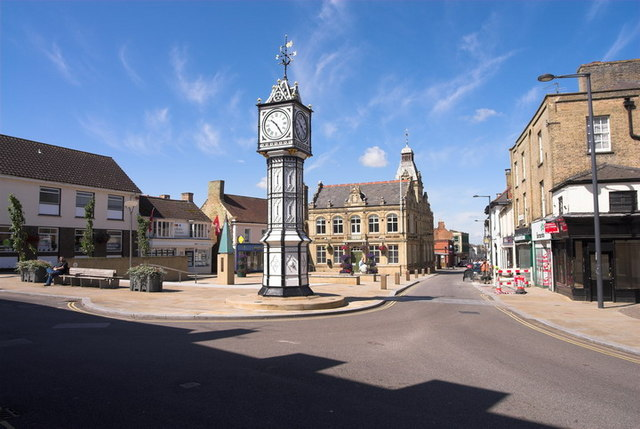 Downham Market Clocktower and Street Scene