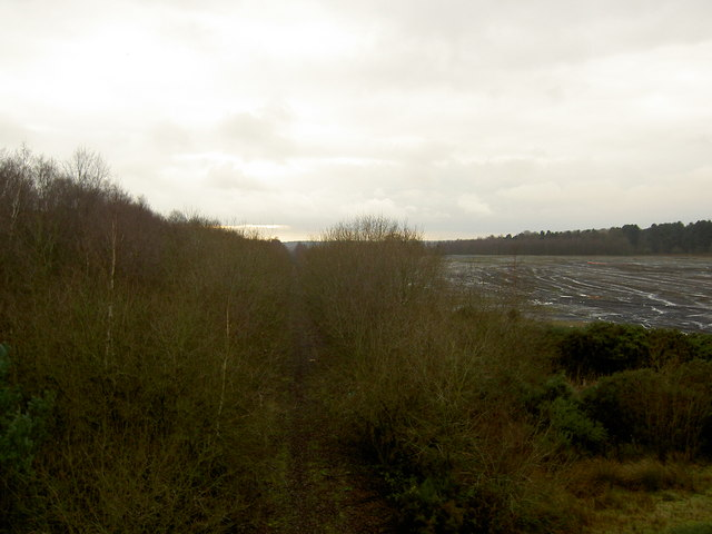 Disused railway line bed to the former Bevercotes Colliery