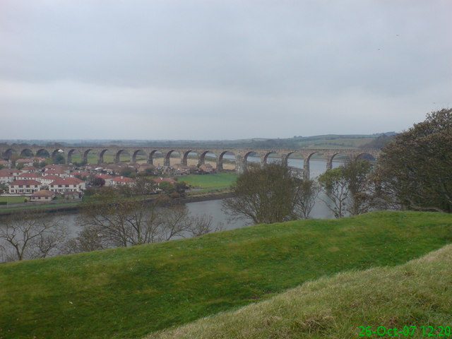 Royal Border Bridge, Berwick, taken from town Walls