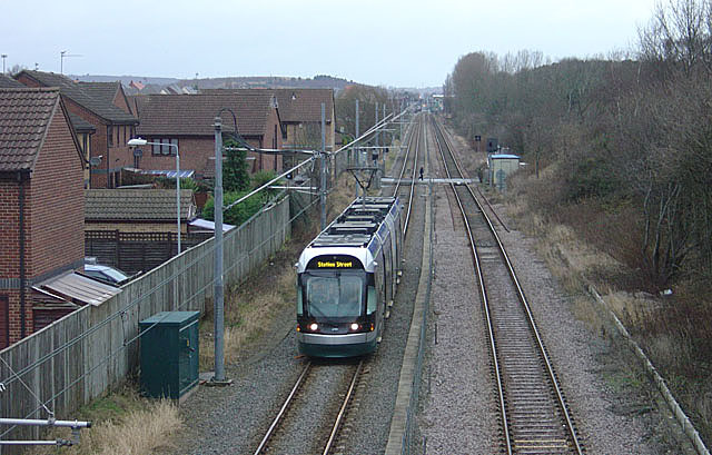 Tram approaching Butlers Hill