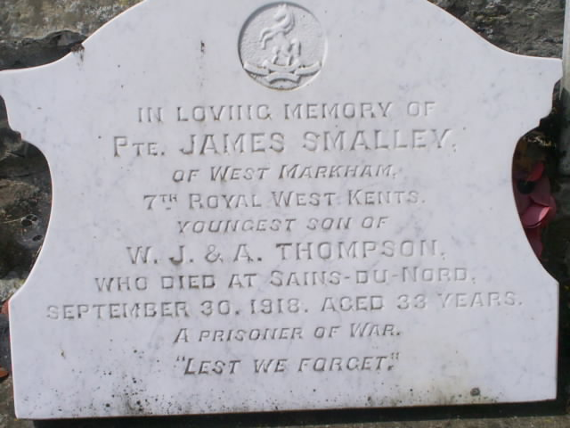 Pte James Smalley gravestone