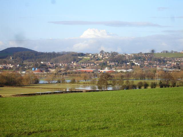 View of Welshpool across the Severn flood plain