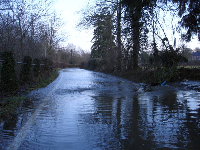 Flooded lane beside the Rhiw