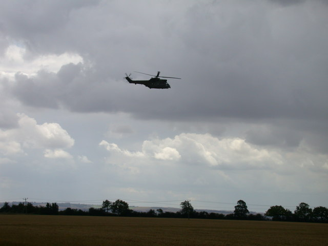 Fields near Croydon, with black helicopter