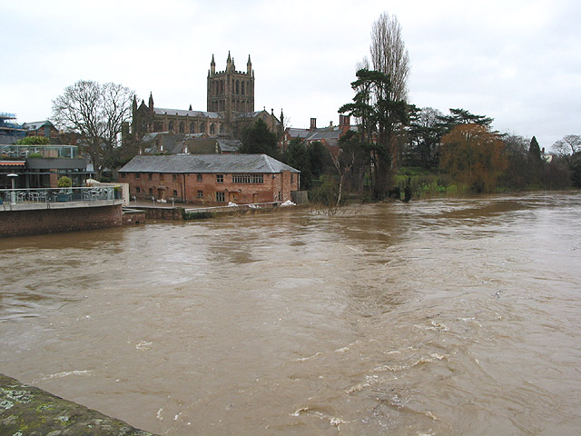 Floodwater rushing down the Wye