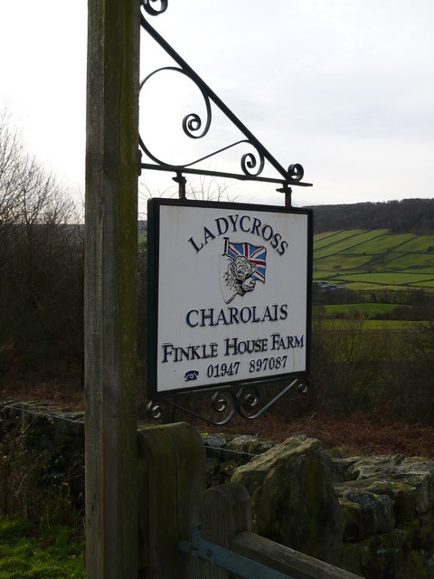 Charolais Herd sign at Finkel House Farm Great Fryupdale