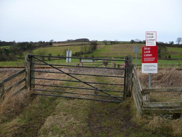 Railway Crossing on public footpath near Houlsyke