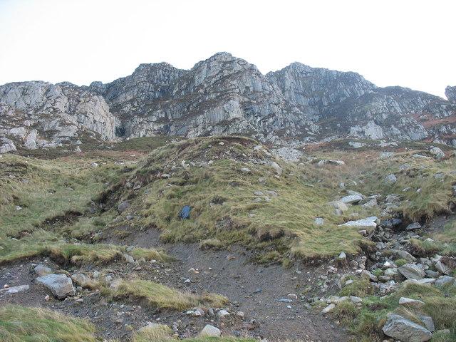 Receding boulder clay cliffs below Yr Eifl buttresses