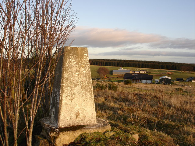 Trig point with Westside Farm in background