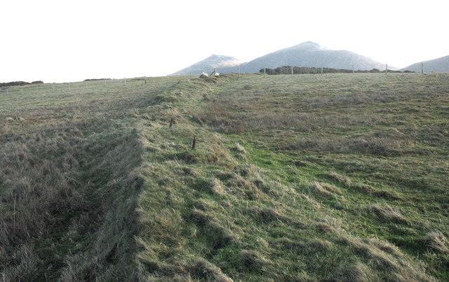 An ancient field boundary bank on Trwyn y Tal
