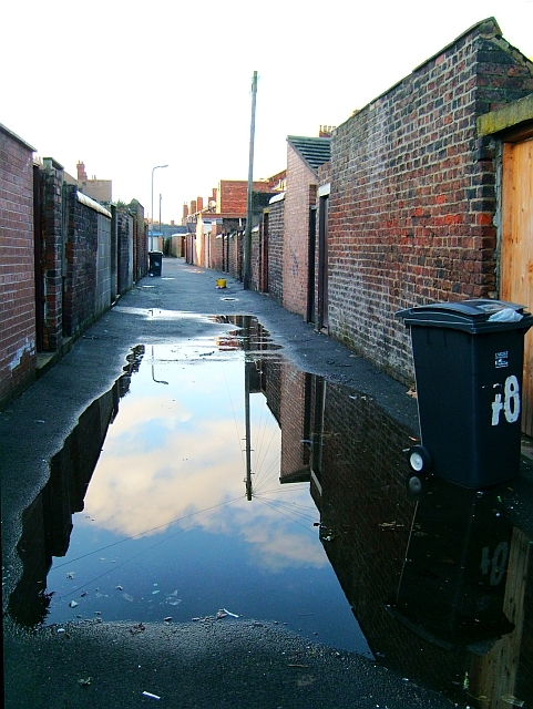 Puddle in a back alley