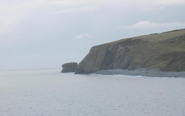Trwyn y Tal headland and Ynys Fawr stack viewed from the south
