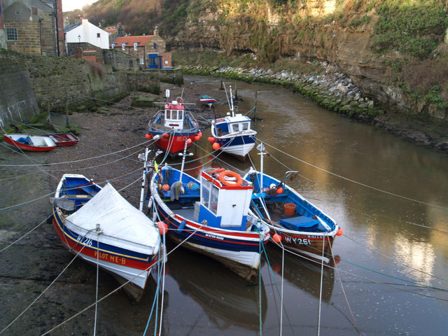 Fishing boats at Staithes on an incoming tide