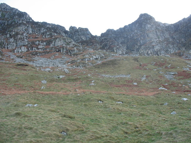 Banks of glacial drift below the Eifl buttresses