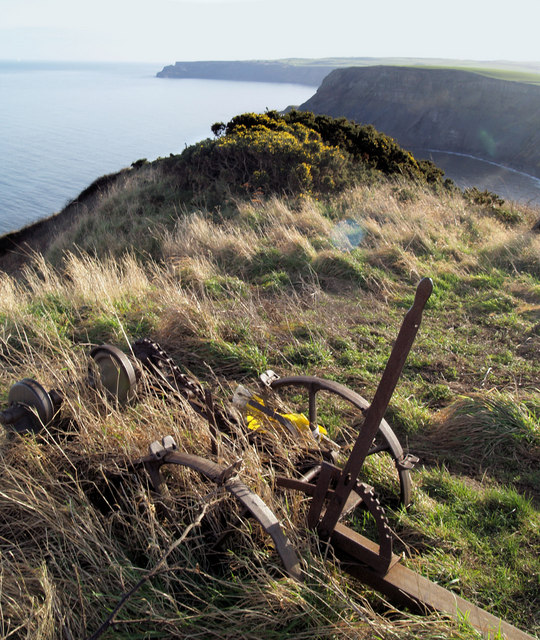 Ruined farm equipment on the cliff tops near Port Mulgrave