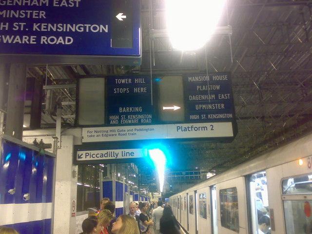 Earls Court Underground Station - destination signs