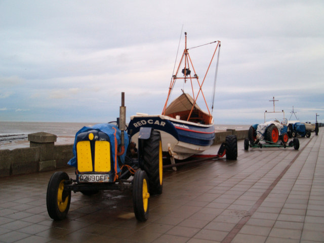 Fishing boats and their tractors on Redcar seafront