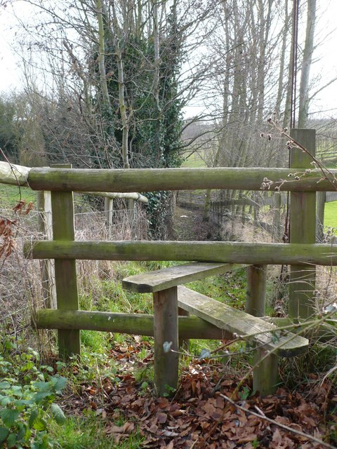 Stile and footpath to Fox Wood