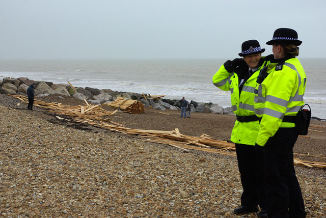 South Lancing beach - a lot of wood