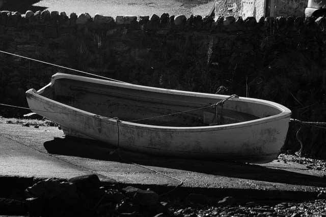 Rowing Boat on Slipway at Night