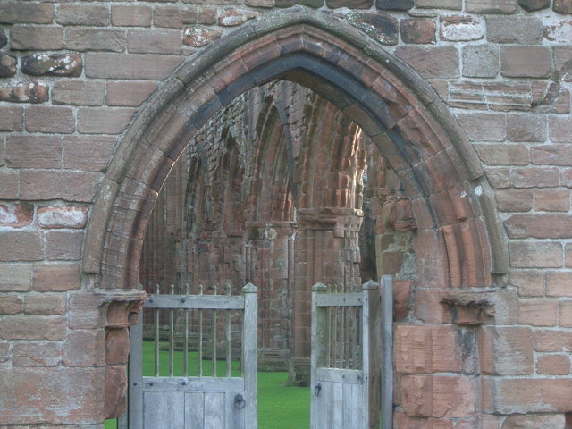 Entrance to Sweetheart Abbey showing part of interior