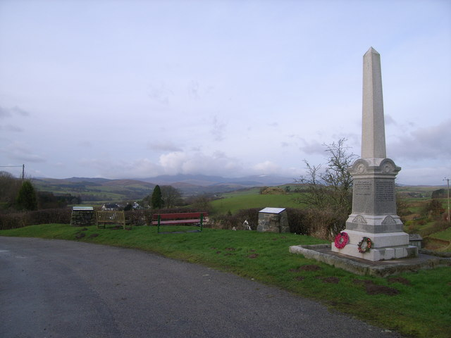 Balmaclellan Monument (with mountains in the background)