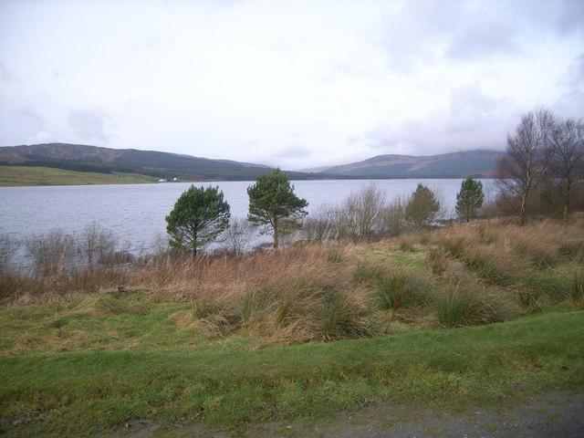 Looking across Clatteringshaw Loch