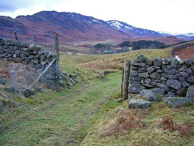 Farm track and gateway in drystane dyke