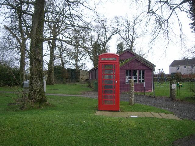 Telephone Box & purple village hall