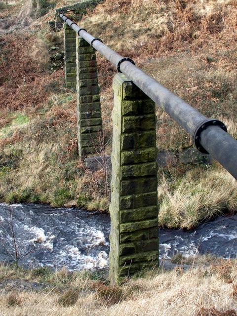 Stone piers supporting a water pipe
