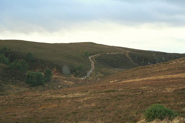 Sodden moorland track to the south of Caochan a Ghaid