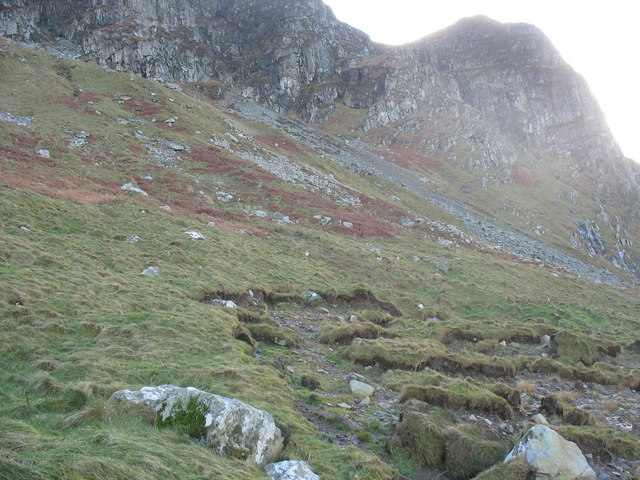 Accumulated talus at the base of the Mynydd Gwaith buttresses