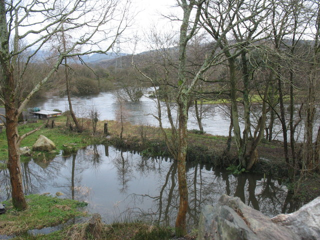 The trackbed of the former Padarn Railway marooned by floods