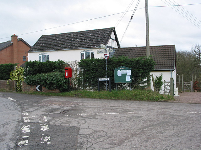 Postbox and road junction at Fishpool, Kempley