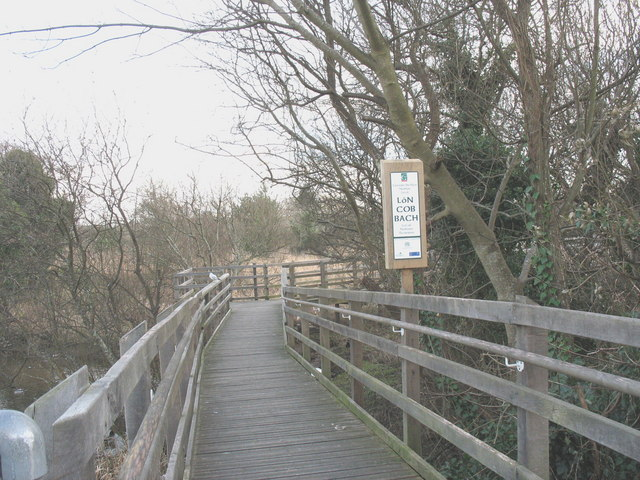 Walkway across the Lon Cob Bach Nature Reserve